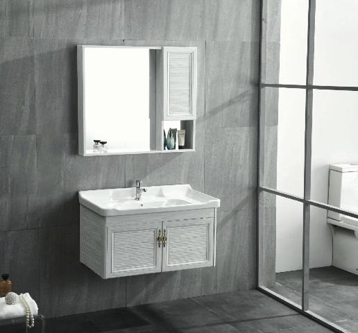 white wood grain bathroom cabinet