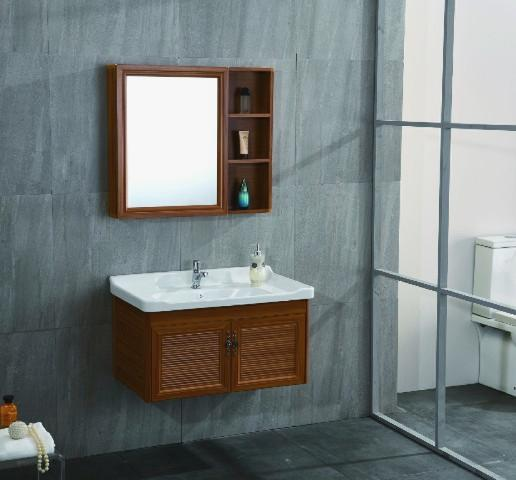 traditional redwood bathroom cabinet